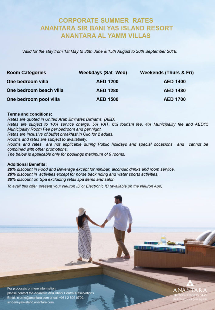 Anantara Yamm Villas Summer Corporate Rate